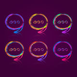 Colorful Speech Bubble Set. On Dark Background. Ask Chat Signs vector illustration