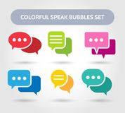 Colorful speech bubble signs. Vector color bubbles shapes for chatting or chat conversation stock illustration