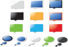 Colorful speech bubbles. Illustrated set of colorful speech bubble and boxes, isolated on white background with copy space Stock Photography