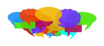 Colorful speech bubbles. Colorful speech and talk bubbles or balloons. Vector available Stock Photography