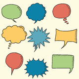 Colorful speech bubbles doodle icons Royalty Free Stock Photo