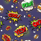 Colorful speech bubbles and explosions in pop art style. Royalty Free Stock Images