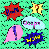 Colorful speech bubbles and explosions in pop art style. Elements of design comic. wow, boom, oops, , wham, from different comic f Royalty Free Stock Image