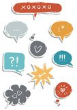 Colorful speech bubbles with love signs. Colorful hand drawn speech bubbles with signs on white background love communication set vector illustration