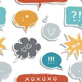 Colorful speech bubbles with love signs seamless p. Colorful hand drawn speech bubbles with signs on white background love communication seamless pattern royalty free illustration