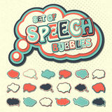 Colorful speech bubbles, pop art style. Colored 3d stickers Royalty Free Stock Images