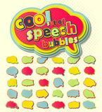 Colorful speech bubbles, pop art style. Colored 3d stickers Stock Photos