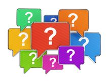 Colorful speech bubbles with question mark symbols. Speech bubbles with with question mark symbols isolated on white. Support and assistance concept Royalty Free Stock Image