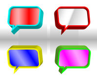 Colorful speech bubbles. Set of colorful rectangular 3D speech bubbles stock illustration