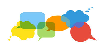 Colorful speech bubbles. Colorful speech bubbles set on white background. Talk and think bubbles. Blue, green, yellow, red and orange icons Royalty Free Stock Photo
