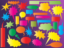 Colorful speech and thought bubbles. Collection of colorful comic speech and thought bubbles vector illustration