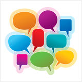 Colorful speech and thought bubbles. Collection of colorful speech and thought bubbles background Stock Photos
