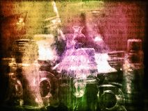 Colorful spell potions of magic witch background Stock Images