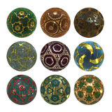 Colorful sphere collection with glossy ornaments Stock Photos
