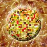 Colorful Sphere with colored squares on abstract  background. Colorful Sphere with colored squares on abstract gold background Royalty Free Stock Photos