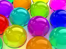 Colorful spheres. 3D glass colorful spheres,digitally generated image Stock Images