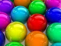 Colorful spheres. 3D reflective colorful spheres,digitally generated image Stock Photography