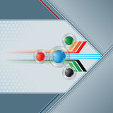 Colorful spheres in glass button sphere on geometric linear design Royalty Free Stock Photos