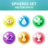 Colorful  spheres set with symbols inside. Assets set for game design and web application. Colorful  spheres set with symbols inside. Ready assets set for game Royalty Free Stock Photos