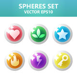 Colorful spheres set with symbols inside. Assets set for game design and web application. Colorful spheres set with symbols inside. Ready assets set for game royalty free illustration