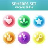 Colorful  spheres set with symbols inside. Assets set for game design and web application. Colorful  spheres set with symbols inside. Ready assets set for game Stock Photography