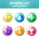 Colorful spheres set with symbols inside. Assets set for game design and web application. Colorful spheres set with symbols inside. Ready assets set for game stock illustration