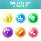 Colorful  spheres set with symbols inside. Assets set for game design and web application. Colorful  spheres set with symbols inside. Ready assets set for game Royalty Free Stock Image