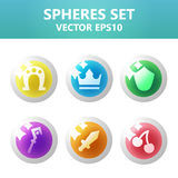 Colorful  spheres set with symbols inside. Assets set for game design and web application. Colorful  spheres set with symbols inside. Ready assets set for game Stock Image