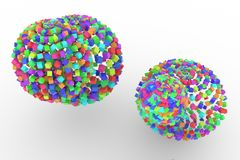 Colorful spheres from squares, modern style soft white & gray background. Digital, birthday, illustration & details. Colorful spheres from squares, modern style Stock Photo