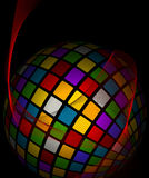 Colorful spherical abstract background made of squares Stock Image