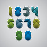 Colorful spherical geometric sectored numbers Stock Images