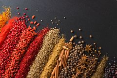 Colorful spice background for website  headers or food labels. Collection of herbs and herbs are scattered on black table. Set of flavors on blackboard stock images