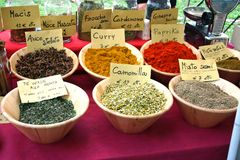 Colorful spices. Colorful display of different spices on a market in Italy Stock Photos