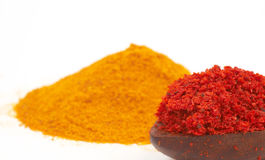 Colorful spices. Focus on red spicy, shallow dof Stock Photos