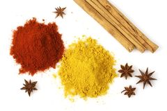 Colorful Spices. Various colorful spices from above isolated over a white background Royalty Free Stock Image