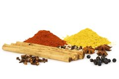Colorful Spices. Various colorful spices isolated over a white background Stock Image