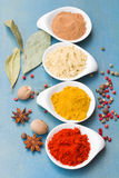 Colorful spices on blue  table Royalty Free Stock Image