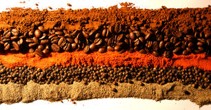 Colorful spices & coffee Stock Photography
