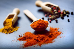 Colorful spices on a dark blue table. Concept of kitchen and cooking. Spicy on a wooden spoon. Stock Images