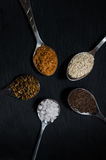 Colorful spices on a dark Board. Colorful spices in spoons on a dark Board Stock Photography