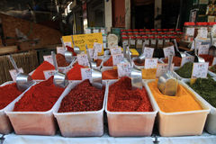 Colorful spices on display in food market in Tel Aviv, Israel. royalty free stock photography