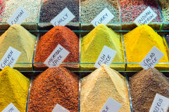 Colorful spices on display stock images