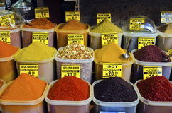 Colorful spices in Egyptian Spice Bazaar Stock Photo
