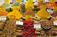 Colorful spices in Egyptian Spice Bazaar Stock Image