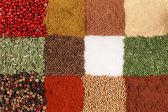 Colorful Spices forming a background Royalty Free Stock Photos