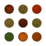 Colorful spices and herbs for cooking Stock Photos