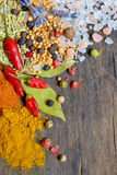 Colorful spices and herbs Stock Images