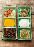 Spices in exotic bowl Stock Photo