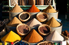 Colorful Moroccan spices. Colorful spices in a market, Morocco Stock Photo