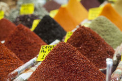 Colorful spices on the market stall Stock Photography